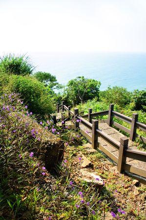 stairs near the coast in Taiwan Stock Photo