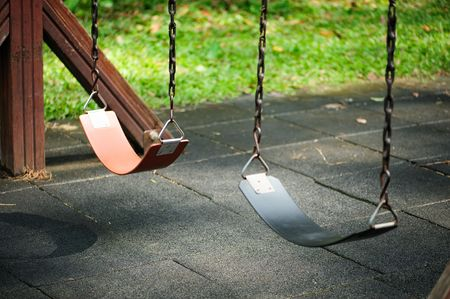 Empty Swing Sets Stock Photo