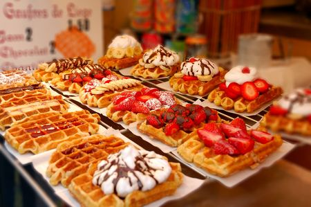 waffles with strawberries, cream and chocolate Stock Photo