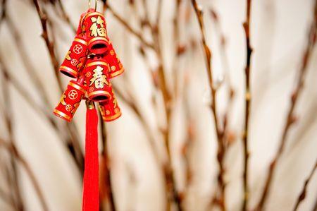 중국 새 해에 은행 나무 분기의 배경으로 장식 폭죽