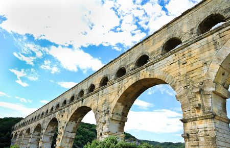 Pont du Gard of Roman aqueduct in southern France near Nimes