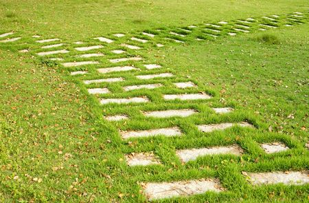 fork of path with green grass in the park Stock Photo