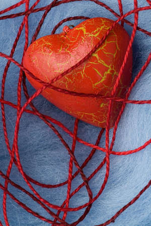 splendour: The red heart on the fur under the thread cobweb