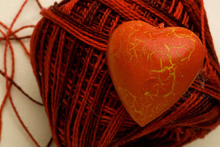 splendour: The red heart lie on the cotton clew