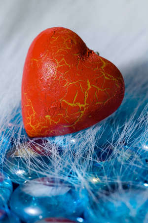 Red heart shape on blue crystals Stock Photo - 4131700