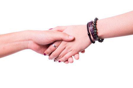 Clasp hand in isolated background. photo