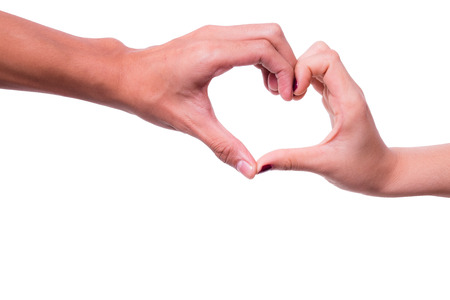 Hands in the form of heart in isolated background. photo