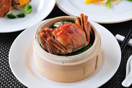 chinese menu: Crab dish. Crabs cuisine.