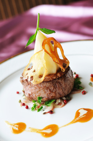 Dining: Thick filet mignon.