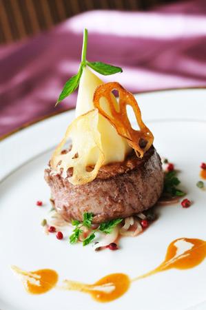 fine dining: Thick filet mignon.