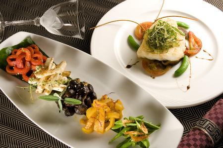 Creative Cuisine Appetizer Shrimp Seafood. Shrimp appetizers .Fish steak.