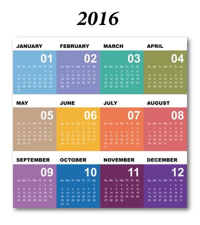 Calendar for 2016. Simple Vector Template. 2016 calendar simple design. Stock Illustratie