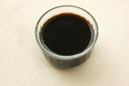 Chinese black vegetable jelly dessert. Chinese dessert. Stockfoto