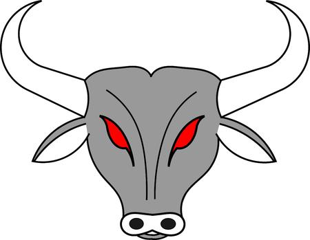 red bull: Grey head of bull with red eyes