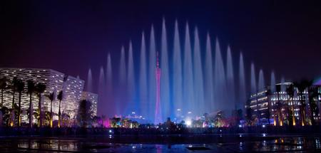 광저우, 중국 음악 분수의 화려한 야경