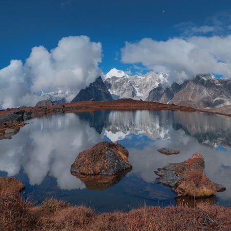 Look at the reflection of Mount Everest from Tsoshutrima