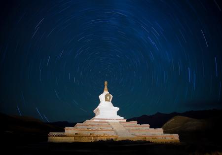 pagoda under the starry might Stock Photo