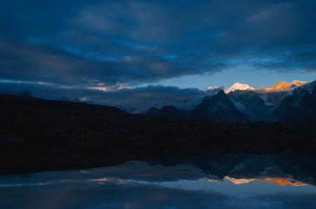 The Mount Everest overlooks Stock Photo