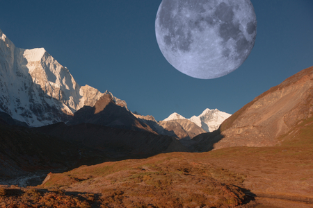 The moon on the east slope of Mount Everest