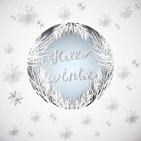 Papier kunst winter achtergrond. Vector voorraad.