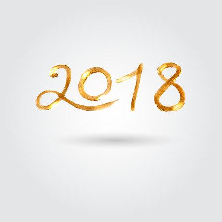 Gouden penseelstreek 2018. Vector voorraad Stock Illustratie