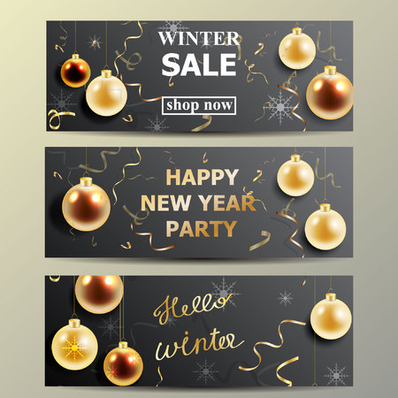 Nieuwe jaar vectorachtergrond met gouden ballen en confettien. Stock Illustratie