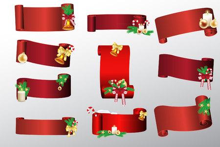 Nieuwjaar lint banner. Set - vector voorraad. Stock Illustratie