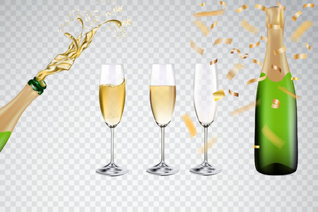 Champagne with glasses and golden ribbon confetti Vector stock. Çizim