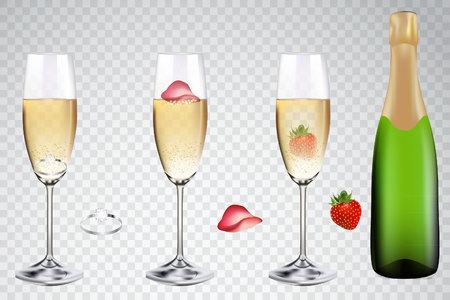 Champagne voor romantische achtergrond. Vector voorraad.