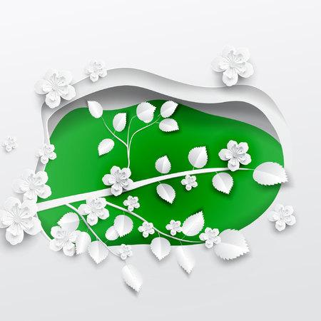 Papier kunst bloemen achtergrond. Papier gesneden. Vector voorraad Stock Illustratie