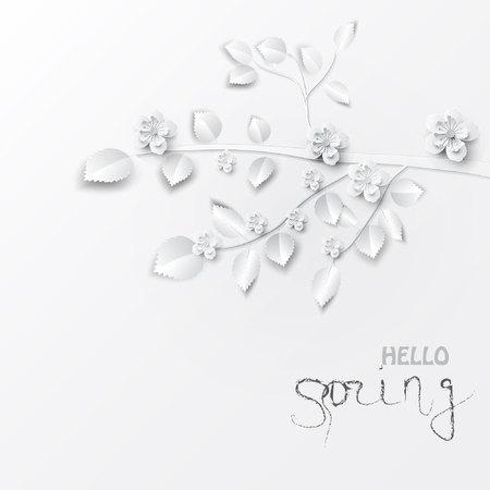 Papier kunst bloemen achtergrond. Papier gesneden. Vector voorraad Stockfoto - 92746726