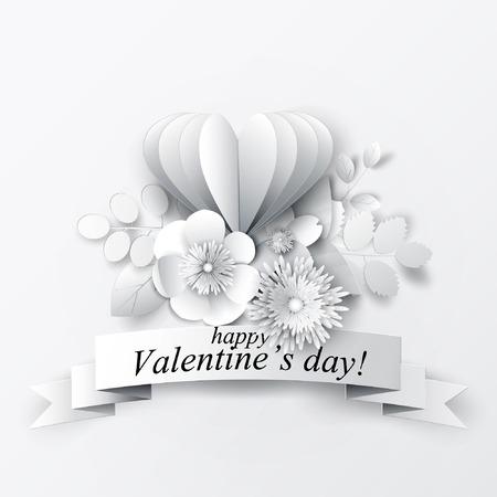 Papier kunst bloemen achtergrond. Valentijnsdag. Papier gesneden. Vector voorraad.