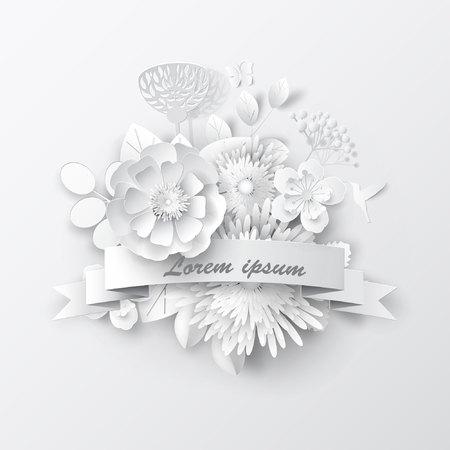 Papier kunst bloemen achtergrond. Papier gesneden. Vector voorraad.