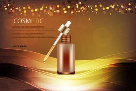 Cosmetics ads template, droplet bottle on golden background. Illustration