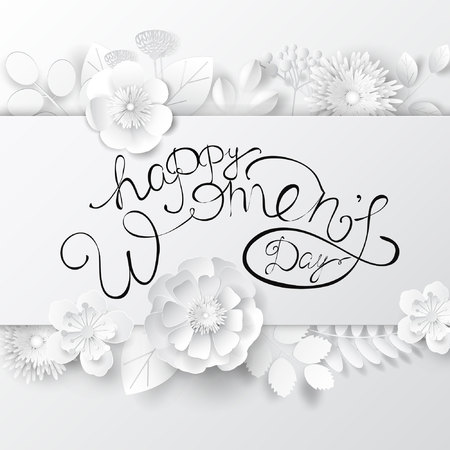 Papier kunst floral achtergrond met letters. Wenskaart met internationale vrouwendag.