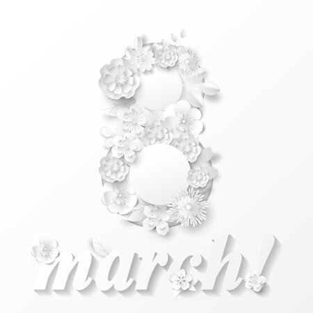 Paper art flowers with lettering. Happy womens day. Vector stock.
