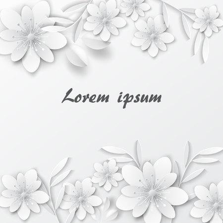 Paper art flowers. Design for banner, frame, card. Vector stock.