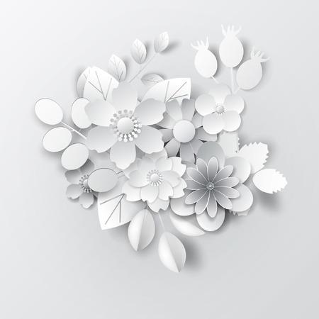 Paper art flowers. Design for banner, frame, card. Vector stock. Stockfoto - 102503334