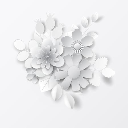 Paper art flowers. Design for banner, frame, card. Vector stock. Stockfoto - 102503337