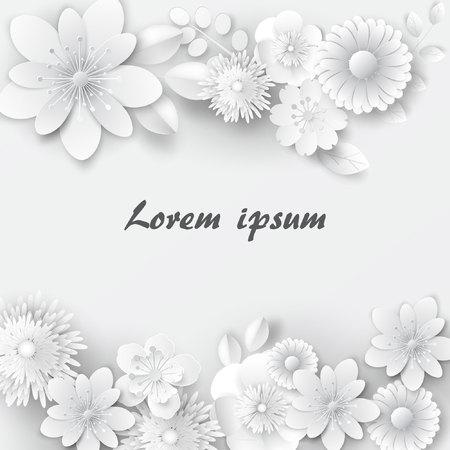 Paper art flowers. Design for banner, frame, card. Vector stock. Stockfoto - 102503343
