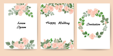 Floral design with rose for template brochures and cards. Set - vector stock.