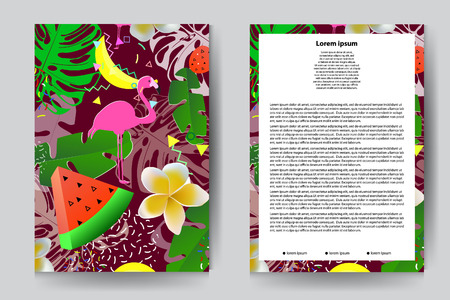 Summer design for brochure template with palm leaves, flamongo, plumeria flowers and fruits. Set - vector stock.
