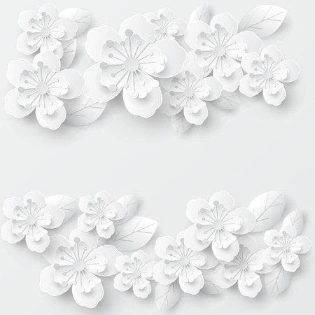 Paper art flower background. Vector stock. Stock Illustratie