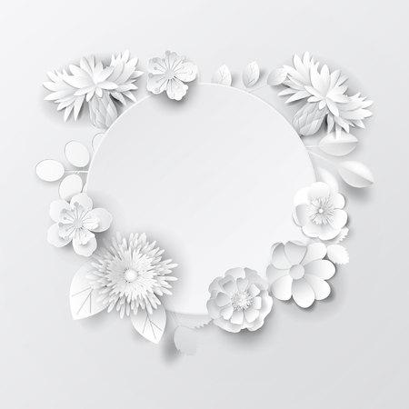 Paper art flowers background. Vector stock. Stockfoto - 118576913