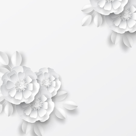 Paper art flowers background. Vector stock. Stock Illustratie