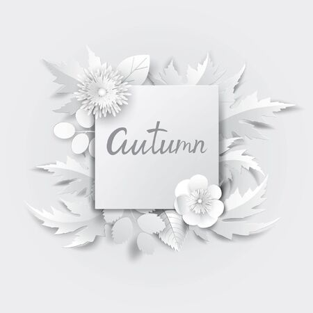 Paper art flowers background with autumn lettering. Vector stock.