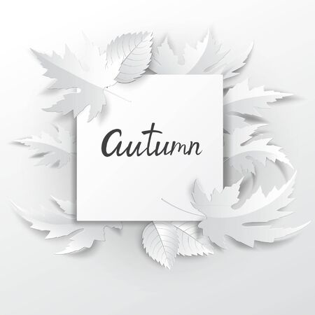 Paper art autumn leaves background. Vector stock.