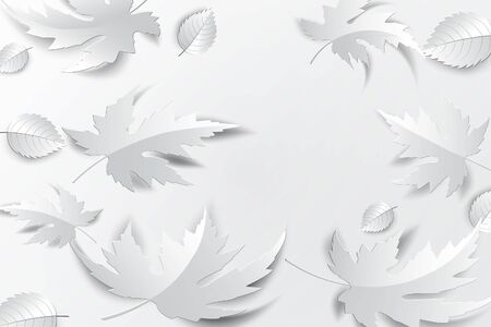 Paper art leaves background. Vector stock.