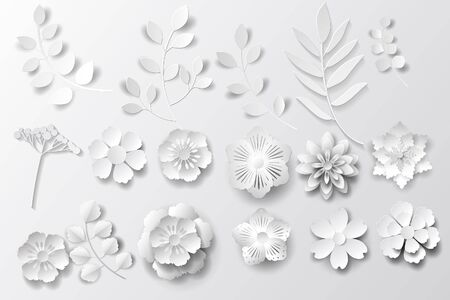Paper art flowers background. Set - Vector stock. Stock Illustratie