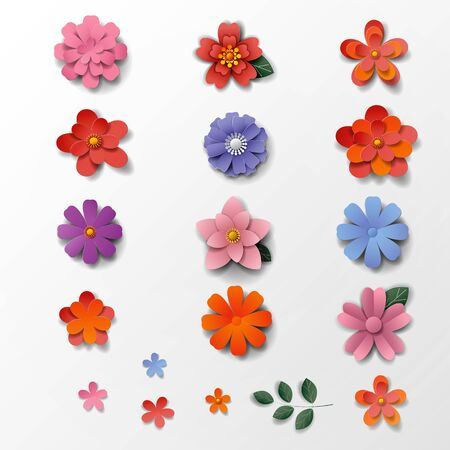 Paper art flowers background. Vector illustration.